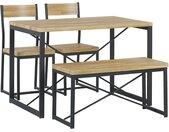 Salle à manger complète table 110 x 70 cm 2 chaises et banc industriels