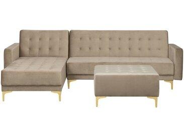 Canapé d'angle à droite beige avec pouf ottoman inclus