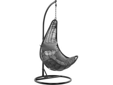 Fauteuil oeuf suspendu noir en rotin avec pied en acier et coussin gris