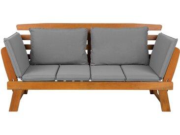 Canapé banquette de jardin en bois d'eucalyptus clair avec coussins gris