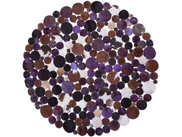 Tapis patchwork en cuir marron violet
