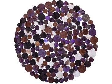 Tapis patchwork rond en cuir marron et violet SORGUN