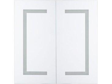 Armoire de toilette 2 portes avec miroir lumineux à LEDs