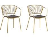 2 chaises design en métal doré avec assise en simili-cuir noir