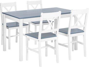 Ensemble table et chaises pour salle à manger en bois blanc et gris