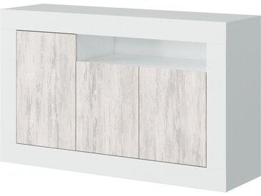 Buffet moderne GWEN effet blanchi 3 portes et 1 étagère L144cm - Blanc et Bois - 144 x 42 x 87 cm - Usinestreet