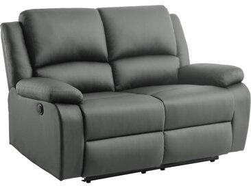 Canapé de Relaxation électrique 2 places en Simili DETENTE - Gris - 144 x 93 x 98 cm - Usinestreet
