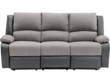 Canapé de Relaxation électrique 3 places Microfibre et Simili DETENTE - Gris - 192 x 93 x 98 cm - Usinestreet