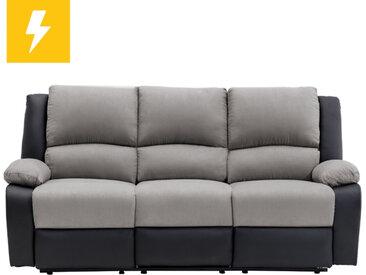 Canapé de Relaxation électrique 3 places Microfibre et Simili DETENTE - Gris et Noir - 192 x 93 x 98 cm - Usinestreet