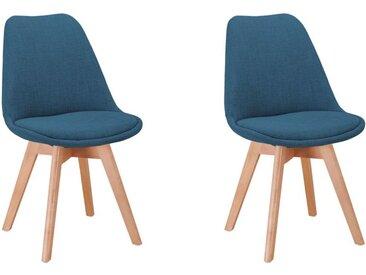 Lot de 2 chaises scandinaves ANDY en tissu et pieds bois - Bleu pétrole - 56 x 47 x 81 cm - Usinestreet
