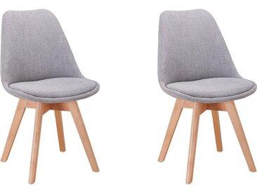 Lot de 2 chaises scandinaves ANDY en tissu et pieds bois - Gris clair - 56 x 47 x 81 cm - Usinestreet