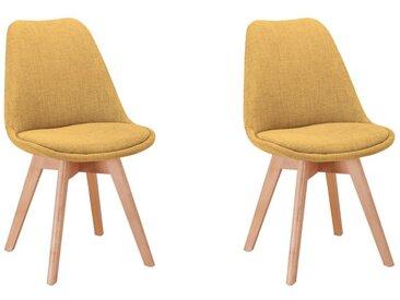 Lot de 2 chaises scandinaves ANDY en tissu et pieds bois - Jaune - 56 x 47 x 81 cm - Usinestreet