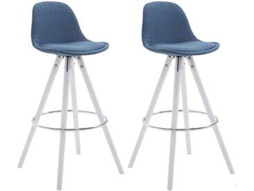CLP Lot de 2 Tabourets de Bar Franklin Tissu pieds ronds, bleu CLP  bleu