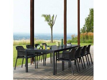 Ensemble de jardin Table Rio 210-280x100 et fauteuils Net NARDI