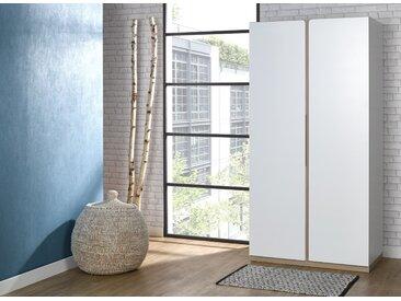 Armoire 2 portes PRADO – Blanc/Chêne
