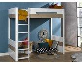 Lit mezzanine 90x200 PRADO – Blanc/Chêne