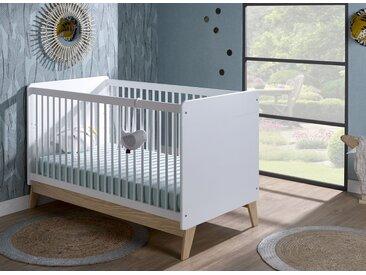 Lit bébé évolutif HAXO – Blanc/Pin