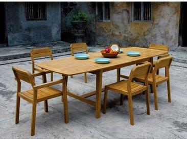 Table et chaises de jardin en Teck CUBA - 6/10 personnes