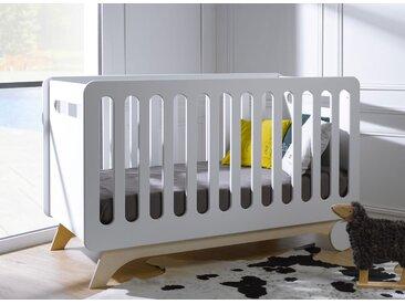 Lit bébé évolutif OXYGENE – Blanc/Bouleau