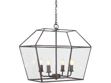 Lustre 4 feux hexagonal belregare Gris en Fer, Verre - Côté Table
