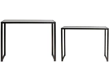 2 consoles carrees miroir pieds metal noirs - Côté Table