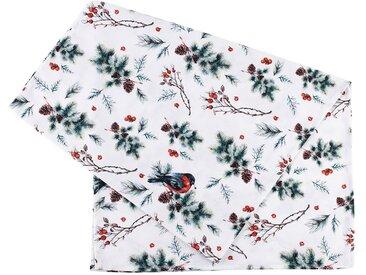 Chemin table aubepine vert,rouge,blanc 160x50cm coton - Côté Table