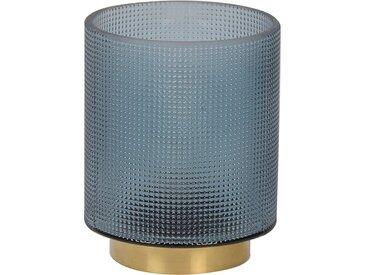 Lampe led verre et met maily bleu d12xh15cm - Corep