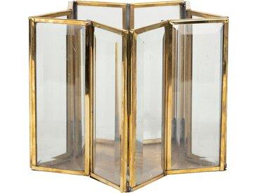 Photophore etoile aureol dore 17x17xh13cm laiton,verre - Côté Table