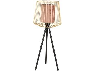 Lampe s/pied ardecor rose d20xh57cm-e27-cable 1.50m metal,velours polyester - SEMA Design