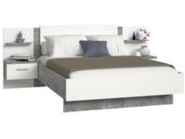 Lit 140x190 cm + chevets GINGER béton gris clair et blanc mat