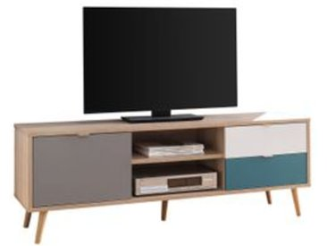Meuble TV scandinave ARUBA Chêne, gris, bleu et blanc