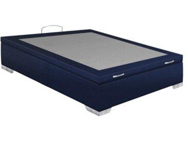 Sommier coffre 140x190 cm SIGNATURE MAXIBOX microfibre bleu