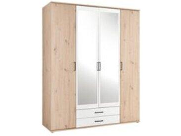 Armoire 4 portes et 2 tiroirs ARTY blanc et imitation chêne avec penderie et lingère