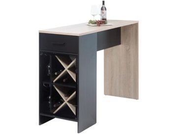 Table bar WINE Imitation chêne et noir mat