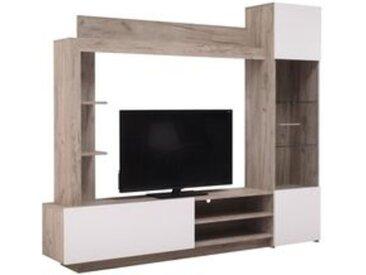 Mur TV KANSAS Imitation chêne et blanc