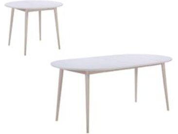 Table ronde + 2 extensions MALENA scandinave Bois et blanc