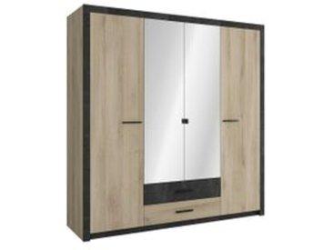 Armoire 4 portes avec miroir, lingère, penderie et tiroirs - Style industriel COLO