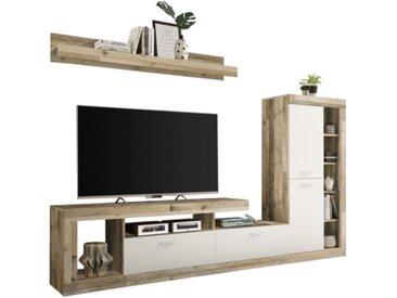Mur TV LARA Imitation chêne et blanc
