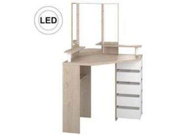 Coiffeuse avec LED et multi rangements JOLY imitation chêne et blanc