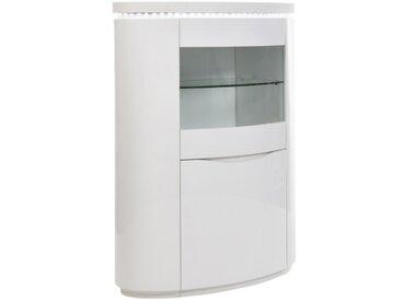 Meuble bar 2 portes placage ELLIPSE chêne blanchi/blanc laqué