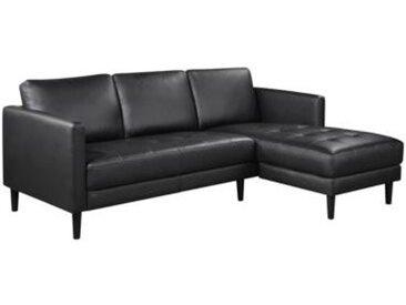 Canapé d'angle droit VALO En cuir et PVC noir
