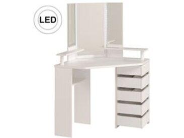 Coiffeuse avec LED et multi rangements JOLY Blanc