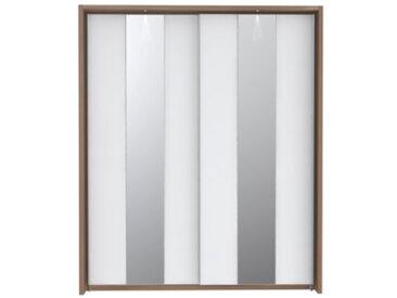 Armoire 2 portes coulissantes avec LED SAINT TROPEZ imitation noyer et blanc