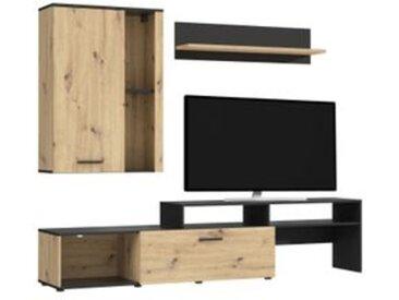 Mur TV BLAKE Imitation chêne et noir