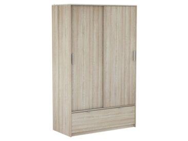 Armoire 2 portes coulissantes Perfect 1 tiroir imitation chêne