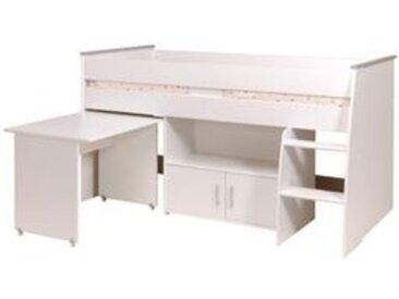 Lit combiné avec bureau  90x200 cm LOAN blanc