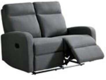 Canapé relax 2 places OSCAR tissu Gris clair