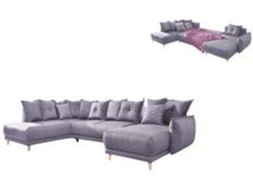 Canapé d'angle gauche panoramique LENA convertible coffre XXL Gris clair