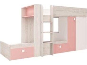 Lit superposé 2x90x190 cm MELYMELO Chêne/blanc/rose