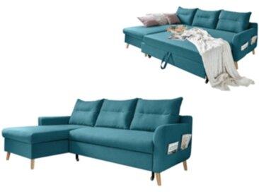Canapé d'angle gauche convertible LACANAU Bleu canard
